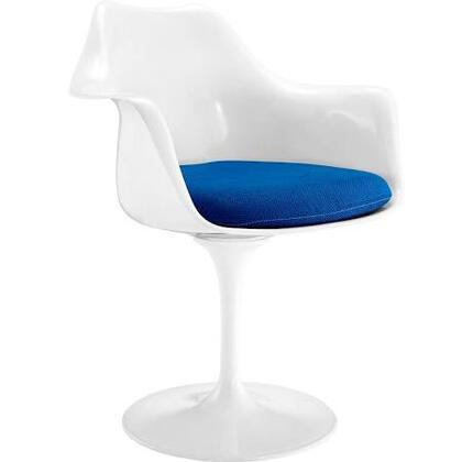 """EdgeMod Daisy Collection 27"""" Arm Chair with Aluminum Swivel Base, Tapering Pedestal Rounded Foot, ABS Plastic Seat and Fabric Cushion"""