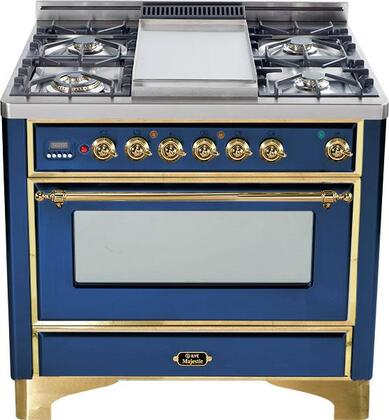 """Ilve UM90MPBL 36"""" Majestic Series Dual Fuel Freestanding Range with Sealed Burner Cooktop, 2.8 cu. ft. Primary Oven Capacity, Warming in Blue"""