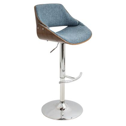 "LumiSource Fabrizzi BS-FBZZ WL 35"" - 44"" Barstool with Adjustable Height, 360 Degree Swivel and Polyester Upholstery in"