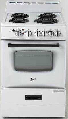 "Avanti ER24P0WG 24"" Electric Freestanding Range with Coil Element Cooktop, Storage in White"