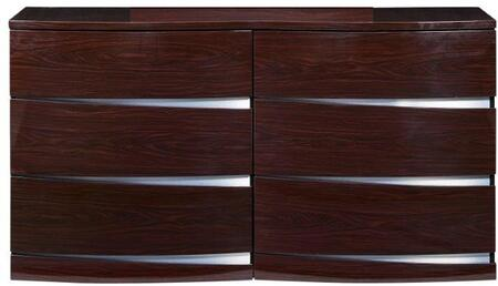 """Global Furniture USA Aurora Collection AURORA-DRESSER 59"""" Dresser with 6 Drawers, Clean Line Design, Accent Slits and Glossy Finish in"""