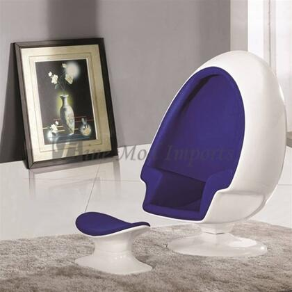 Fine Mod Imports FMI1113P Club Fabric White Shell Frame Accent Chair