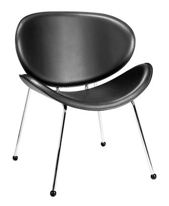 """Zuo 10010 Match Collection 29"""" Chair with Chromed Solid Steel Legs, and Hard Leatherette Upholstery"""
