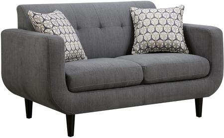 """Coaster Stansall 59"""" Loveseat with Accent Pillows, Retro Mid Century Design, Curved Profile, Pocket Coil Seating, Kiln Dried Hardwood Frame and Fabric Upholstery in"""