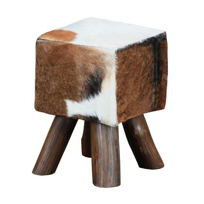 Sterling Ilford Collection Stool with Wooden Legs, Size and Mahogany Wood Materials in Natural Stain Finish
