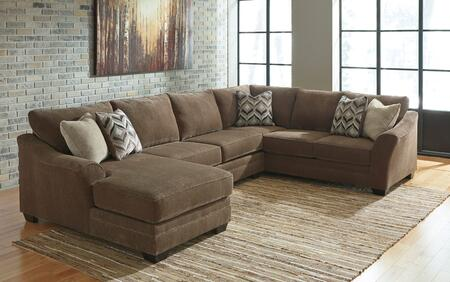 Benchcraft Justyna 89102-1X-34-6X 3-Piece Fabric Sectional Sofa with X Arm Facing Chaise, Armless Loveseat, X Arm Facing Sofa, Piped Stitching and Pillows Included in Teak Brown