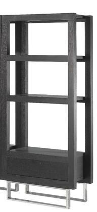 Allan Copley Designs 308033 33x19x70 Palisada Entertainment Facing Bookcase in Espresso Finish With Polished Chrome Legs