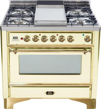 Ilve UM90FMPA Majestic Series Dual Fuel Freestanding Range with Sealed Burner Cooktop, 2.8 cu. ft. Primary Oven Capacity, Warming in Bisque