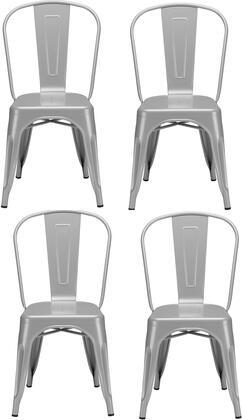 EdgeMod EM112POLX4 Trattoria Series Modern Metal Frame Dining Room Chair