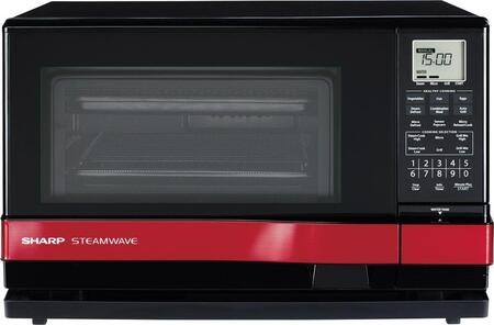 Sharp AX1100R Countertop Microwave, in Black/Red