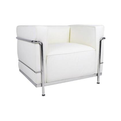 Fine Mod Imports FMI2202WHITE Grand Series Armchair with Stainless Steel Frame in White