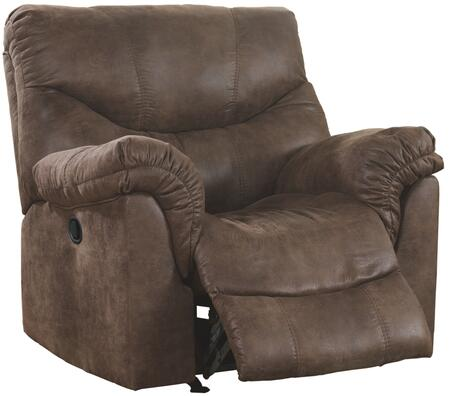Signature Design by Ashley Alzena 71400REC X Rocker Recliner with Heavyweight Faux Leather Upholstery, Padded Arms and Divided Back Cushion in Gun Smoke