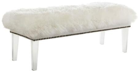 """EdgeMod Shepherd Collection 49.21"""" Bench with Nail Head Trim, Transparent Acrylic Legs, Polyurethane Foam and Real Sheepskin Top in"""