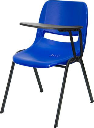 "Flash Furniture RUT-EO1-BL-XTAB-GG 17.375"" Ergonomic Shell Chair with Handed Flip-Up Tablet Arm, 880 lb Load Capacity, and Dual Steel Cross Braces Provide Extra Support in Blue"