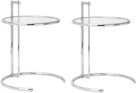 """EdgeMod Eileen Gray Collection 24"""" Side Table with Tempered Glass Top, Adjustable Height, C-Shaped Base and Polished Chrome Frame in Silver Color"""