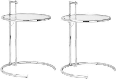 EdgeMod EM130SLVX2 Eileen Gray Series Metal Round None Drawers End Table