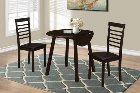 "Monarch I 100X 36"" 3 PCS Dining Set with Drop Leaf Table, Square Legs and Padded Seating in Cappuccino"