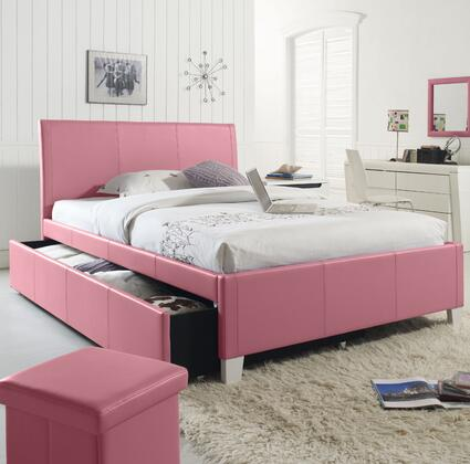 Standard Furniture 607ZZA Fantasia Full Size Bed with Trundle and Faux Leather Upholstery in XXX