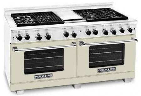 "American Range ARR6062GRLBG 60"" Heritage Classic Series Gas Freestanding Range with Sealed Burner Cooktop, 4.8 cu. ft. Primary Oven Capacity, in Beige"