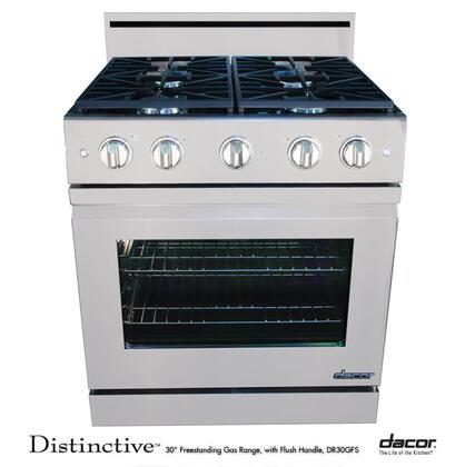 """Dacor Distinctive Series DR30GFSH 30"""" Freestanding Gas-XX Range With 4 Burners, 4.8 Cu. Ft. Convection Oven, Continuous Grates, 120 Volts, 15 Amps, In Stainless Steel"""