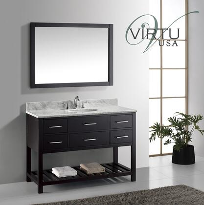 "Virtu USA MS-2248 Virtu USA 48"" Caroline Estate Single Sink Bathroom Vanity Set in with Italian Carrara White Marble Countertop"