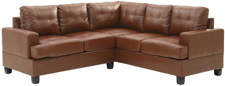 """Glory Furniture 80"""" Sectional Sofa with Comfortable Tufted Seating, Removable Backs/Arms and PU Leather Upholstery in"""