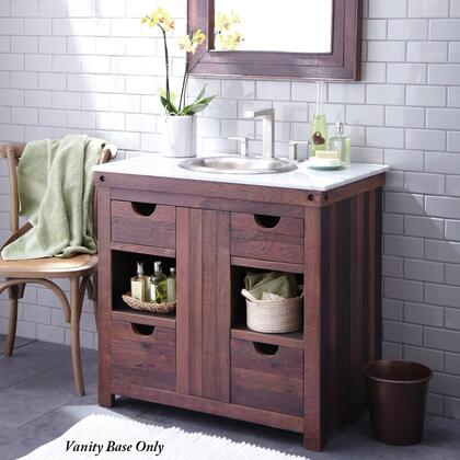 Native Trails VNW36 Chardonnay Vanity with Soft-Close Drawers, Reclaimed Oaking Staves, Removable Panel and Finished in