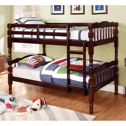 Furniture of America Catalina Collection Twin Size Bunk Bed with 6 PC Slats Top/Bottom, Front Access Fixed Ladder, Solid Wood and Wood Veneer Construction in