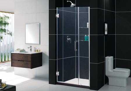 "DreamLine SHDR-20417210C Unidoor 41 to 42"" Frameless Clear 3/8"" Glass Hinged Shower Door in"