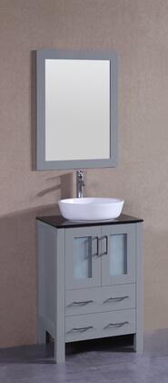 "Bosconi AGR124BWLBGX XX"" Single Vanity with Black Tempered Glass Top, Oval White Vessel Sink, F-S02 Faucet, Mirror, 2 Doors and X Drawers in Grey"
