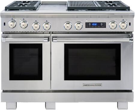 "American Range ARR-484GDGRDF 48"" Medallion Dual Fuel Range with 4.7 cu. ft. Primary Oven Capacity, 2.7 cu. ft. Secondary Oven Capacity, 4 Sealed Burners, 11"" Griddle and 11"" Char-Grill, in Stainless Steel:"