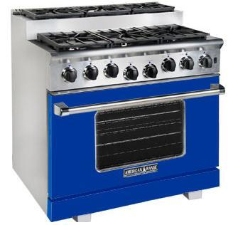 American Range ARR366SBU Titan Series Gas Freestanding Range with Sealed Burner Cooktop, 5.6 cu. ft. Primary Oven Capacity, in Sapphire Blue