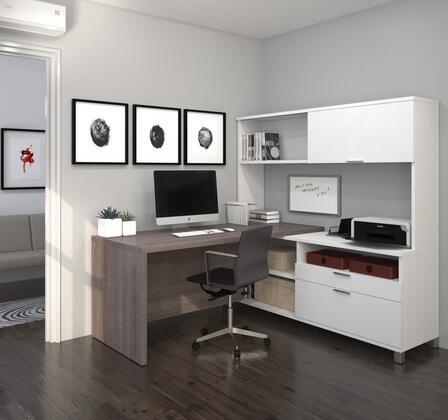 Bestar Furniture 120882 Pro-Linea L-Desk with hutch