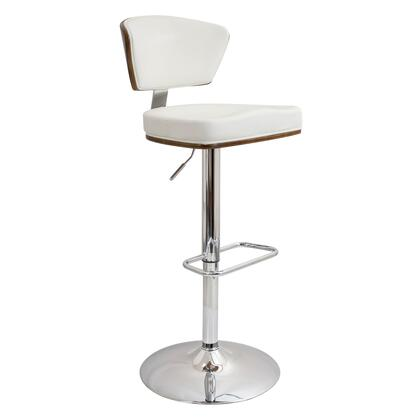 """LumiSource Ravinia BS-JY-RAV 38"""" - 43"""" Barstool with 360 Degree Swivel, Chrome Base and PU Leather Upholstery in"""