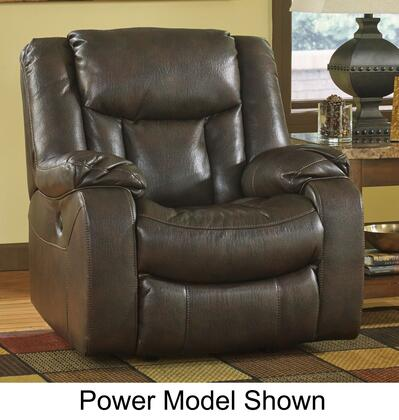 Signature Design by Ashley Carnell 10300XX Rocker Recliner with Plush Padded Arms, Faux Leather Upholstery and Jumbo Thread Stitching Details in Brown