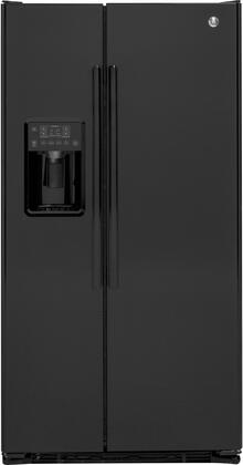 "GE GZS22D 36"" Freestanding Counter-Depth Side-by-Side Refrigerator with 21.9 cu. ft. Total Capacity, External Water and Ice Dispenser, 3 Spillproof Glass Refrigerator Shelves, and Door Alarm, in"