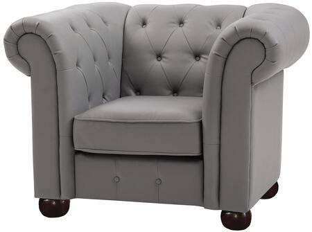 Glory Furniture G491C Faux Leather Armchair with Wood Frame in Grey