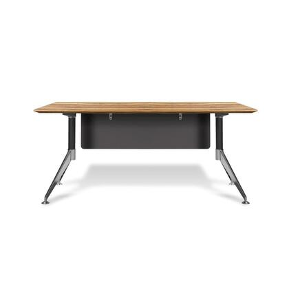 "Unique Furniture 400 Collection 63"" Computer Desk with Steel Base, Wire Management, Non Scratch Surface, Commercial Grade and High Pressure Melamine Material in"