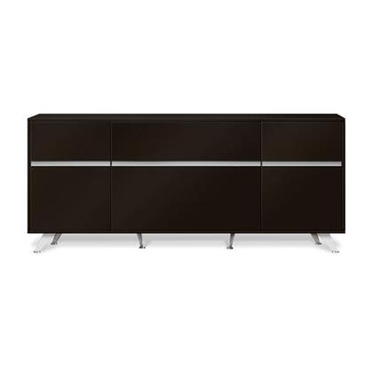 """Unique Furniture 300 Collection 63"""" Storage Credenza with 2 Doors, 1 File Cabinet, 1 Utility Drawer, 1 Adjustable Shelf, Chrome Base and High Pressure Melamine Material in"""