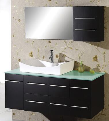 "Virtu USA Ceanna 54"" MS-430-x-ES Single Sink Bathroom Vanity in Espresso Finish with x Countertop, Medicine Cabinet, Mirror, 1 Door, 5 Doweled Drawers and Brushed Nickel Hardware"