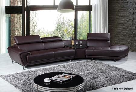 VIG Furniture VGKNK8029TOPBRN Divani Casa Raizel Series Stationary Sofa
