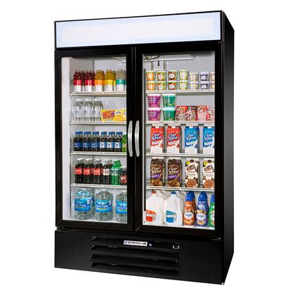 """Beverage-Air MMR44-1 MarketMax 47"""" Two Section Glass Door Reach-In Merchandiser Refrigerator with LED Lighting, 45 cu.ft. Capacity, [Color] Exterior, [Electronic Lock] and Bottom Mounted Compressor"""