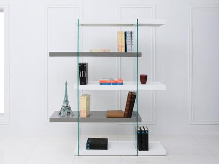 "Casabianca Il Vetro Collection 55"" Bookcase with 4 Shelves, Glass Panels and Medium-Density Fiberboard (MDF) Materials in"