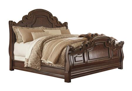 Milo Italia Oneill Collection BR-793SLEIGH X Size Sleigh Bed with Metallic Highlights, Serpentine Shapes and Furniture Grade Resin Components in Dark Brown