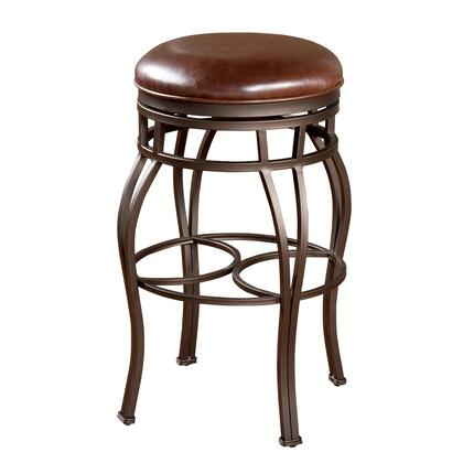 "American Heritage Bella Backless Series 715PPL322 Traditional Stool with Full Bearing Swivel, 3"" Seat Cushion, and Adjustable Leg Levelers Finished in Pepper with Bourbon Leather Seat"