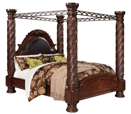 Millennium B553POSTERBED North Shore Collection x Size Poster Bed with Deocrative Pilasters and Ornately Detailed Appliques in Dark Brown
