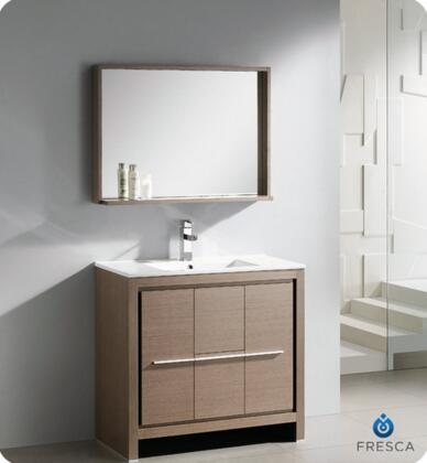 """Fresca Allier Collection FVN8136 36"""" Modern Bathroom Vanity with Mirror, Soft Closing Drawer and Integrated Ceramic Countertop and Sink in"""