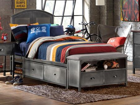 Hillsdale Furniture 1265BSB Urban Quarters Panel Storage Bed Set with 4 Drawers, Footboard Bench, Punched Hole Detailing and Metal Construction in Black Steel Finish