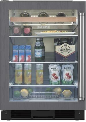 """Sub-Zero UC-24BXX/X 24"""" Undercounter Beverage Center with 6 cu. ft. Capacity, 2 Spill-proof Glass Shelves, 1 Wine Rack, and UV-Resistant Glass Door, in"""