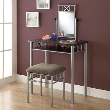 Monarch I 30XX2 Two Piece Vanity Set, with Mirror, Silver Metal Legs, and Stool